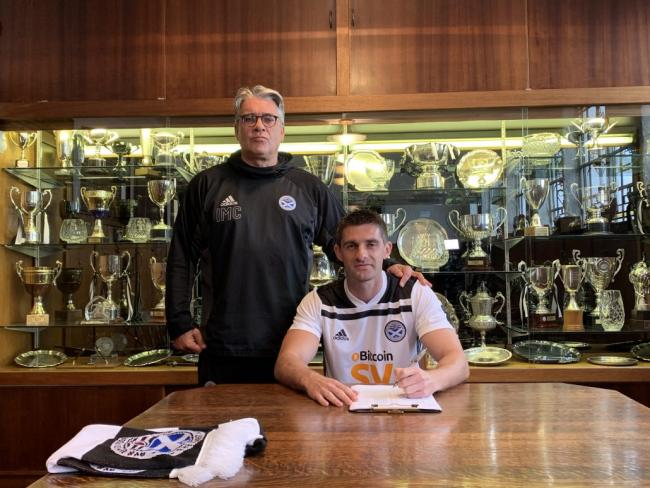 New Ayr striker Kris Doolan (right) with boss Ian McCall