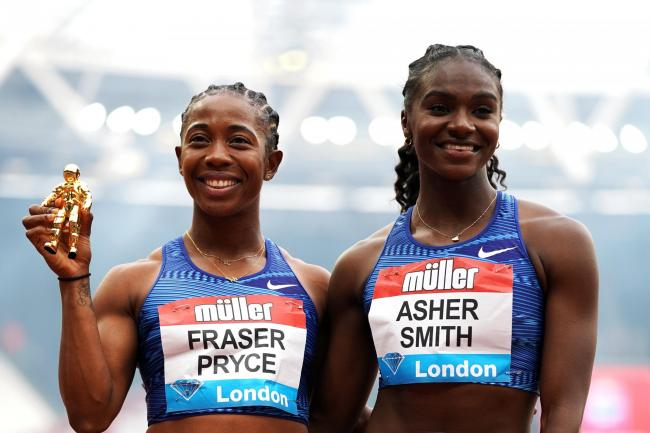 Dina Asher-Smith, right, had to settle for second behind Jamaica's Shelly-Ann Fraser-Pryce