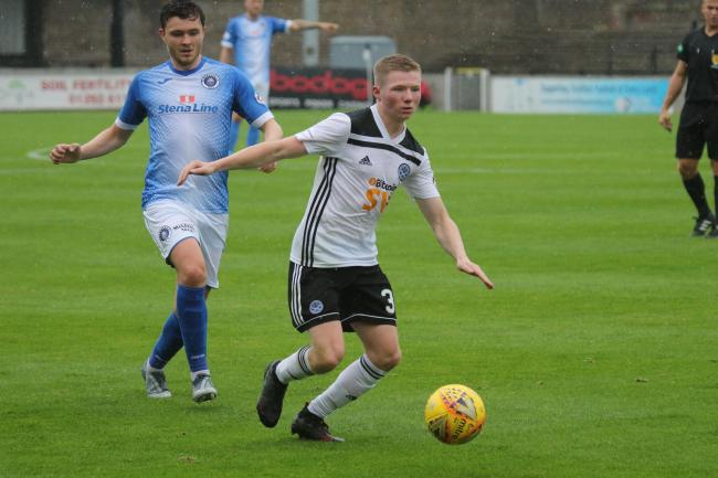 Goalscorer Steven Kelly in action for Ayr United on Saturday.