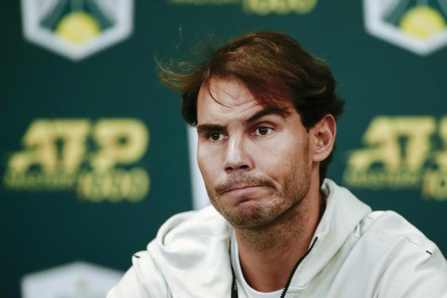 Rafael Nadal at a press conference announcing his withdrawal from the Paris Masters