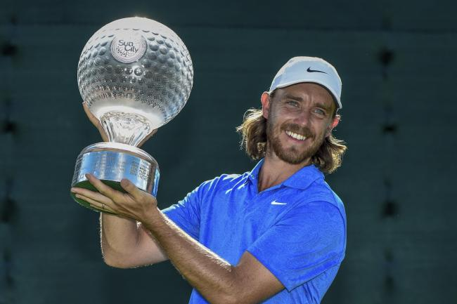 Tommy Fleetwood lifts the Nedbank Golf Challenge trophy at Sun City