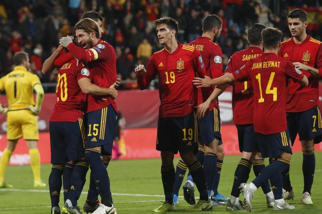 Spain's players celebrated a comfortable 7-0 Euro 2020 qualifying win over Malta on Friday