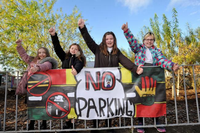 Kids fed up of cars near to Ayr school