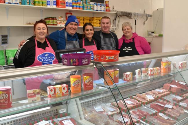 Davy McKay and team in his newly re-opened butchers.