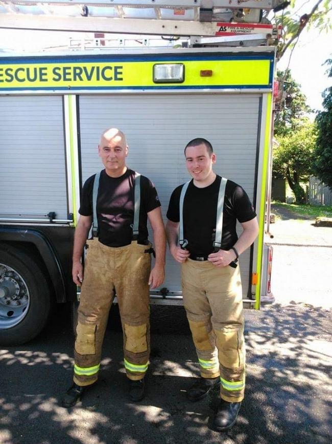 Stephen Challis with son and fellow firefighter Mark.