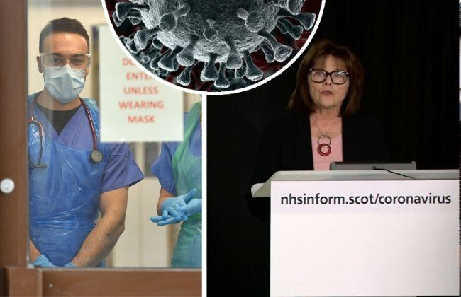 Medical staff wearing PPE credit: Jacob King/PA Wire. Jeane Freeman MSP at today's briefing.