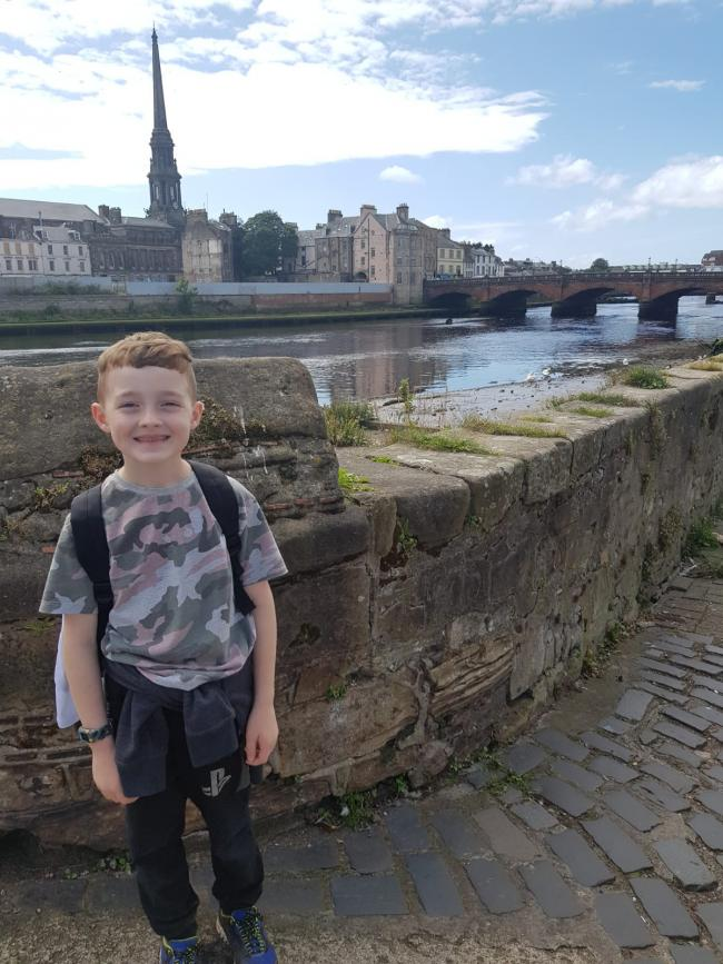 Noah walked 13 miles along the River Ayr.