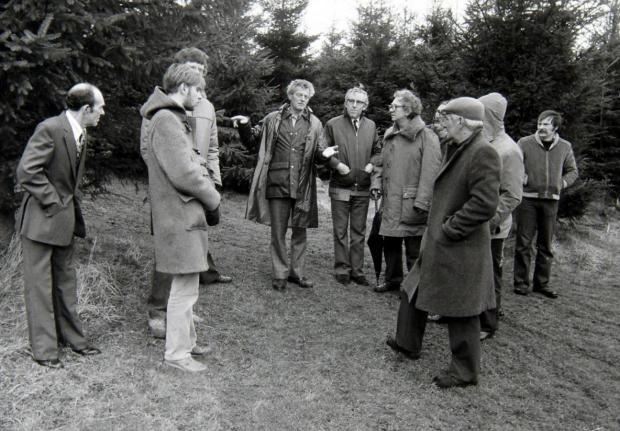 Ayr Advertiser: Members of the British UFO Research Association National Conference with Robert Taylor at the site he saw a UFO near Livingston, West Lothian, in 1979