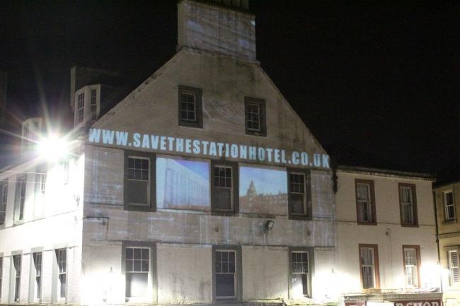Save the Station Hotel was projected onto a building on Ayr High Street.