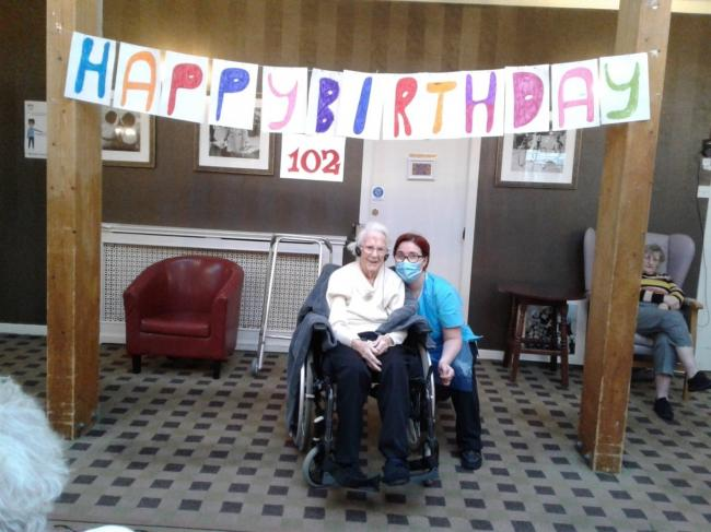 Carrick House care home put on a party for Betty's 102nd birthday.