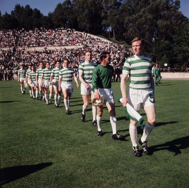Ayr Advertiser: Billy McNeill leads out the Celtic team before the 1967 European Cup final against Inter Milan in Lisbon.