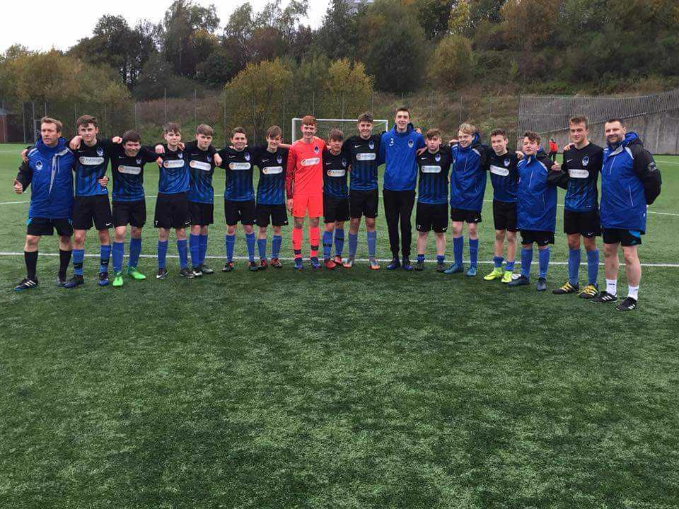 CUP HOPES: The Prestwick CFC squad who have reached the Scottish Cup last 16. Pictured (from left) are coach Stuart McColm, Aaron Brown, Greig Richmond, Gavin Smith, Luke Smith, Alec Clark, Nathan McColm, Andrew Rowan, Archie Munro, Aaron Mooney, Glen Smi