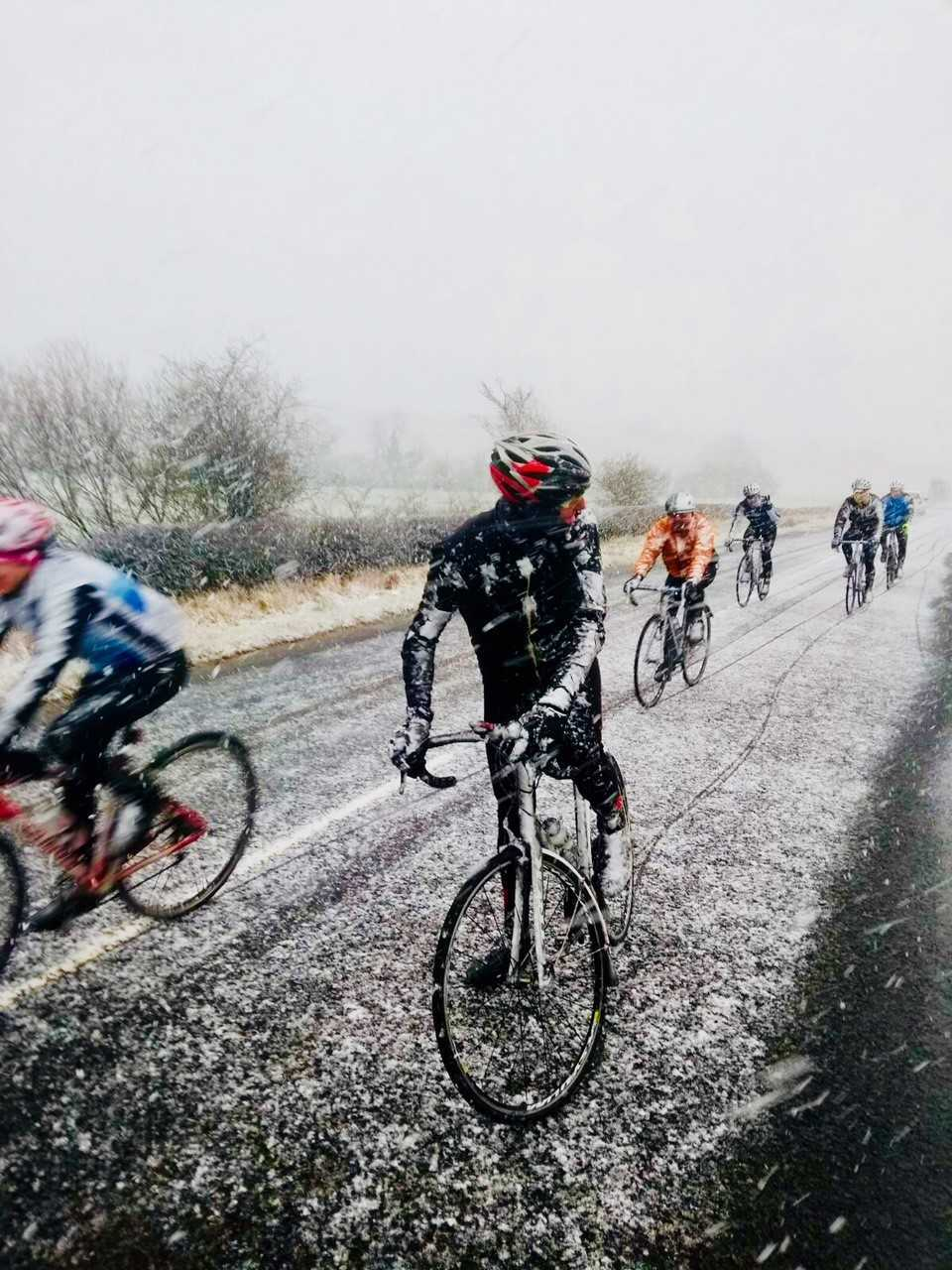 TESTING CONDITIONS: Snow was a dominant feature for Ayr Roads riders on their weekend travels.