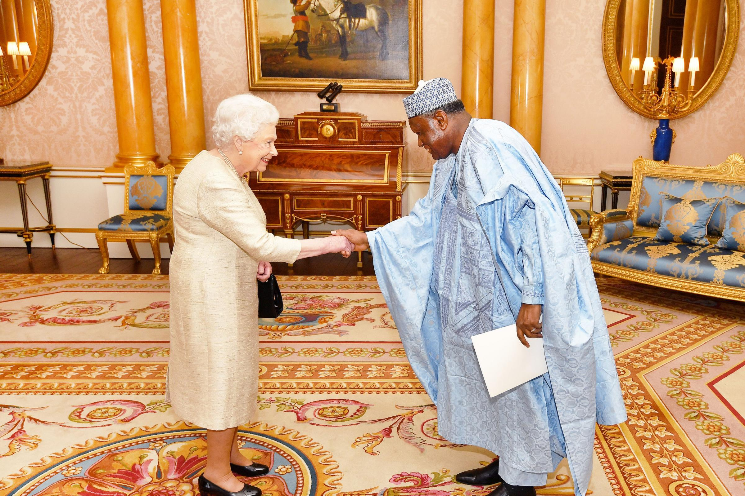 The Queen shakes hands with Republic of Niger ambassador Elhadji Abou during an audience at Buckingham Palace. Hand shake strength could prove a measure of heart health, scientists claim. (John Stillwell/PA)