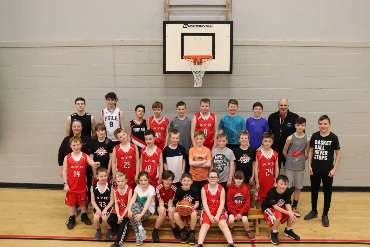 NET GAIN: Pictured are some of the participants in the Ayr Storm Basketball Club morning camp.