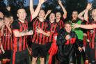 PROMOTION JOY: Whitletts Vics players celebrate promotion to the Championship