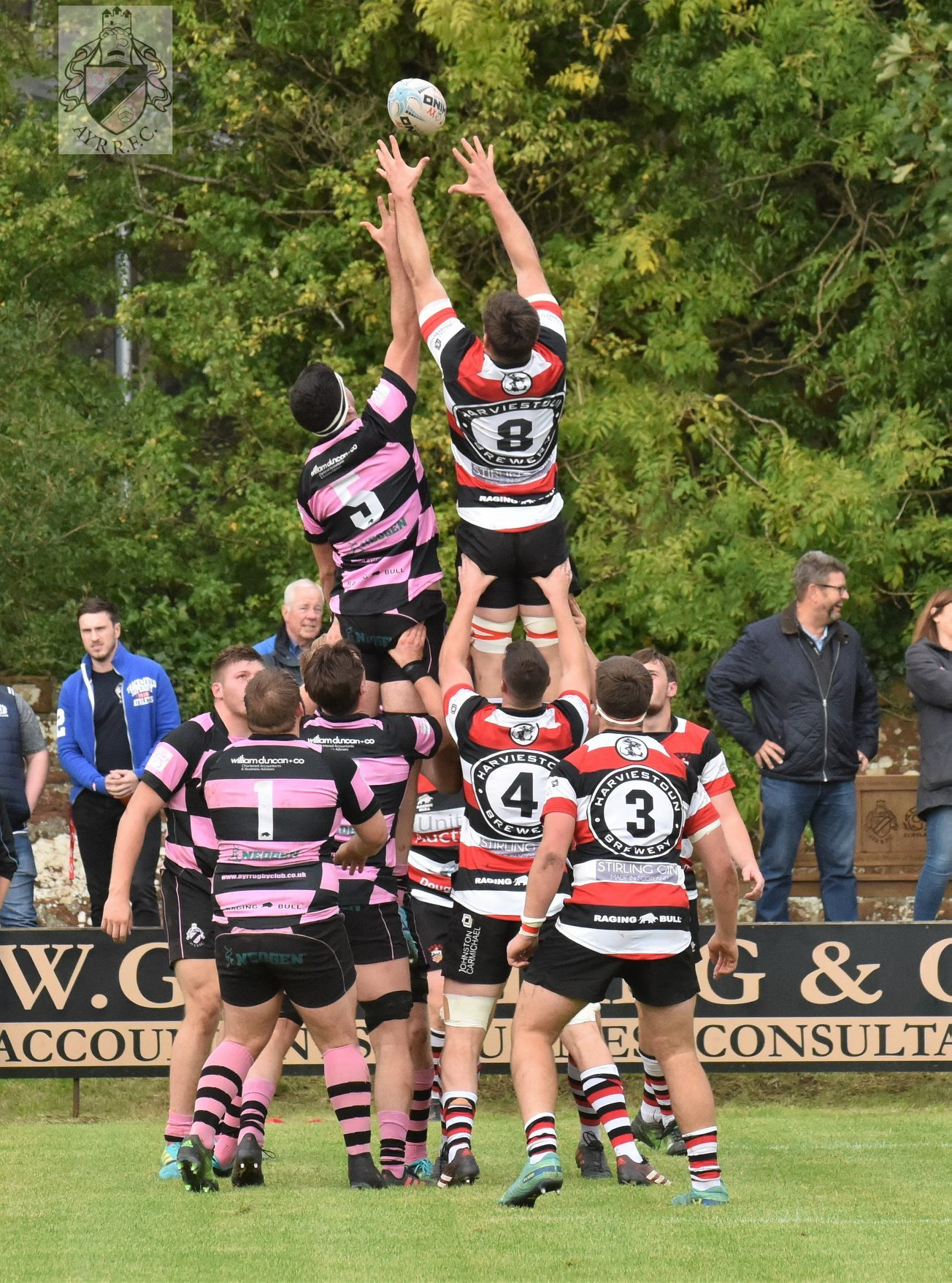 LINE OUT: Action from Millbrae as Ayr take on Stirling County. Picture: George McMillan.