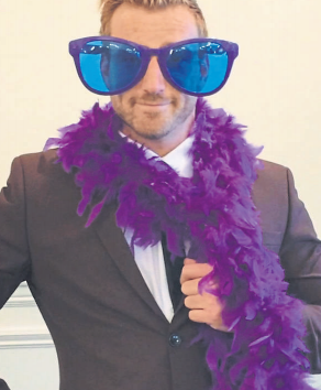 Jai McDowall donning his purple glasses