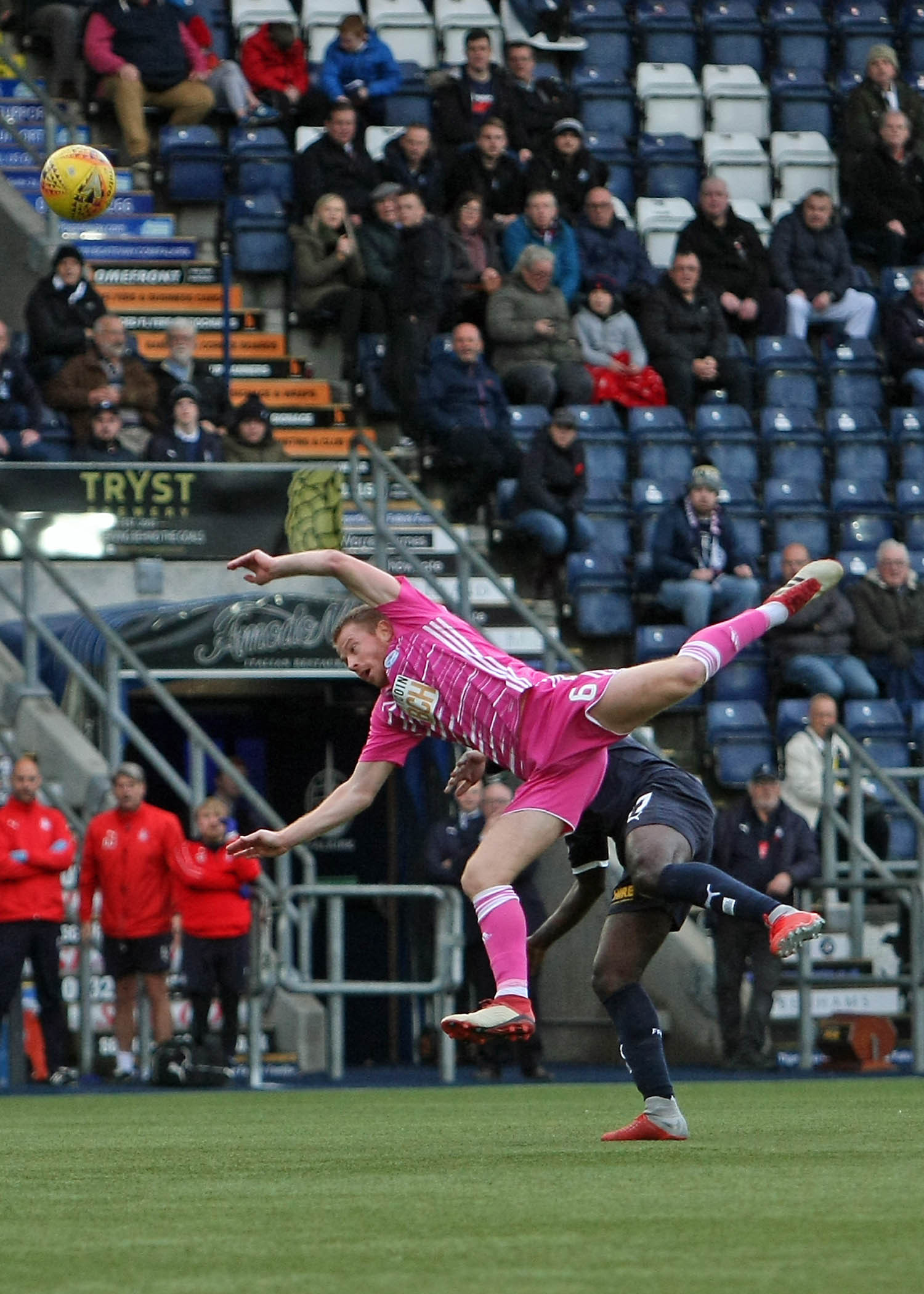 ACROBATIC SKILL: Trickery from United midfielder Andy Geggan.