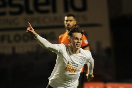 Lawrence Shankland celebrates scoring for Ayr United in the 5-0 rout at Tannadice last season.