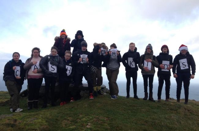 Girvan Acadmy pupils at the top of Byne Hill