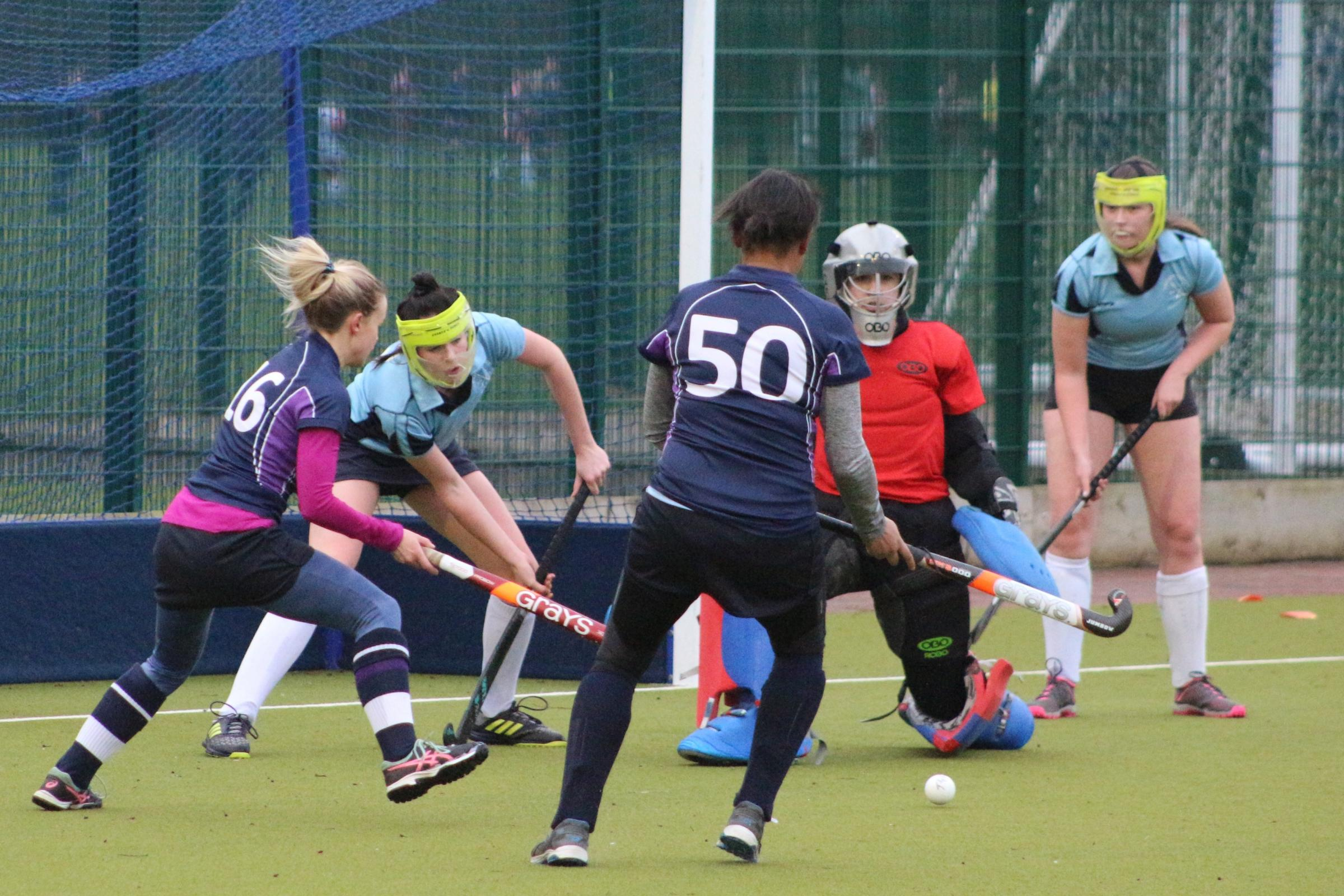 GREAT PLAY: Troon Ladies 1s maintained a spirited defense of their goal.