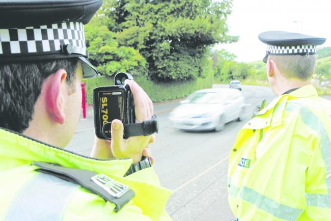 Police Speed Trap, Two cops, pcs redding & nicol, and their radar gun will be on hand to set up a photo opportunity on Lochlibo Road...preffered pic..