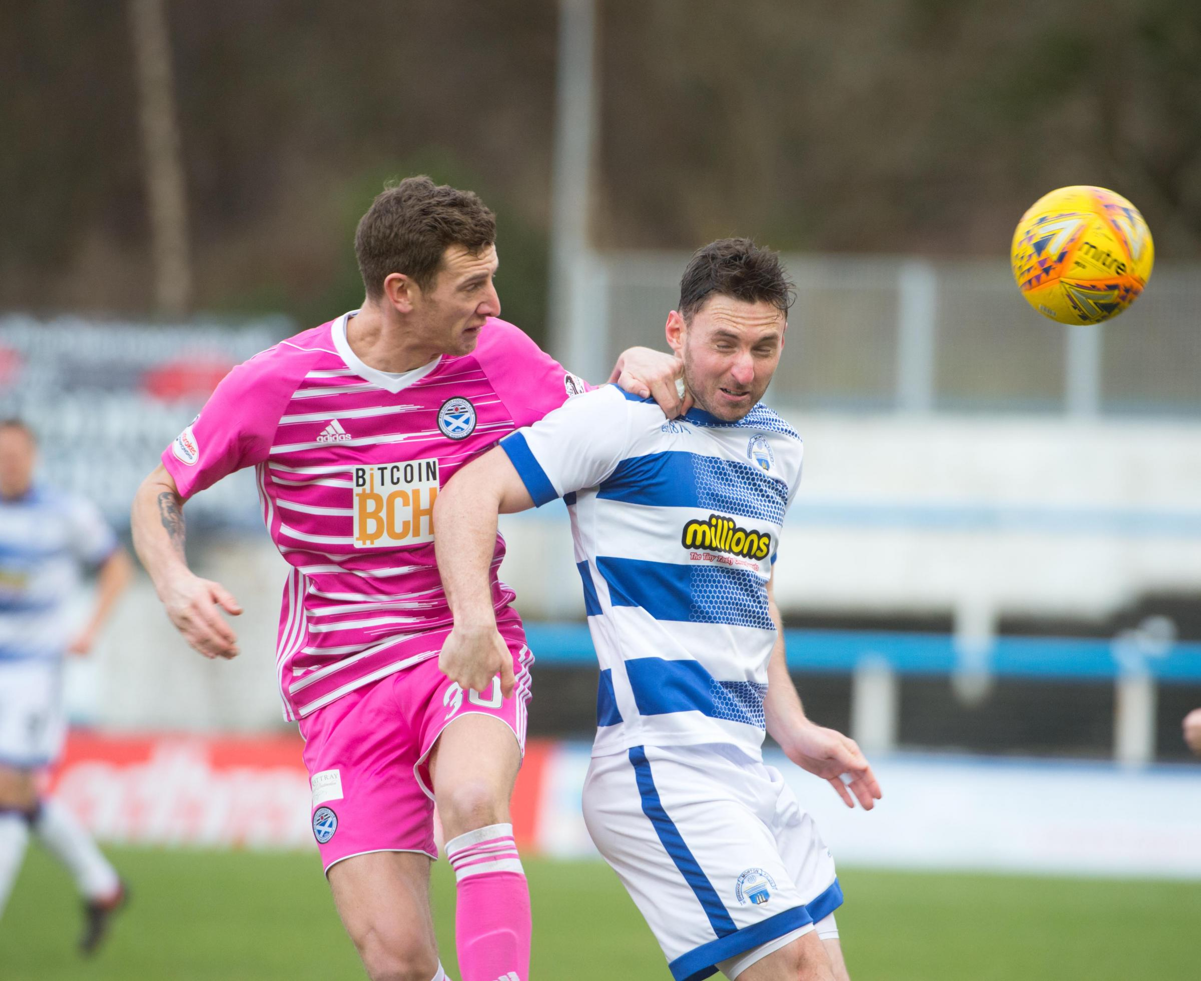 AERIAL POWER: Aaron Muirhead of Ayr battles with Bob McHugh.