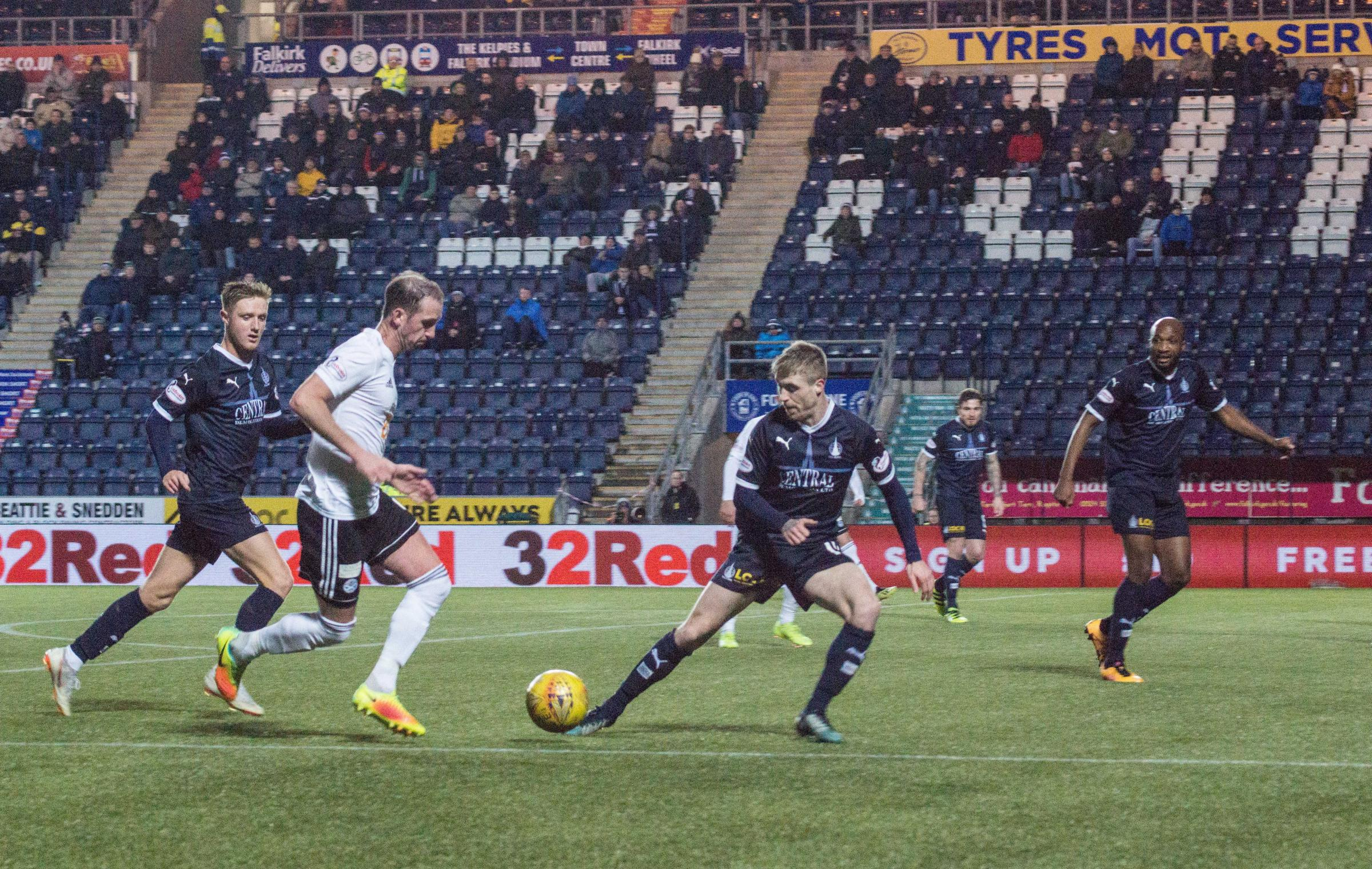 Mark Kerr is pictured in action for Ayr against former club Falkirk on Friday, Picture: Ian Geddes.