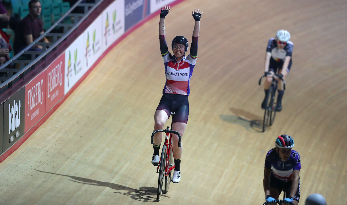 Katie Archibald taking part on the opening day of Six Day Manchester