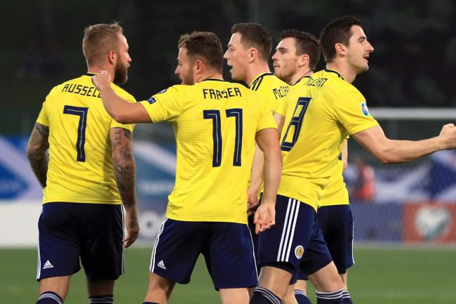 Kenny McLean, far right, scored an early opener for Scotland